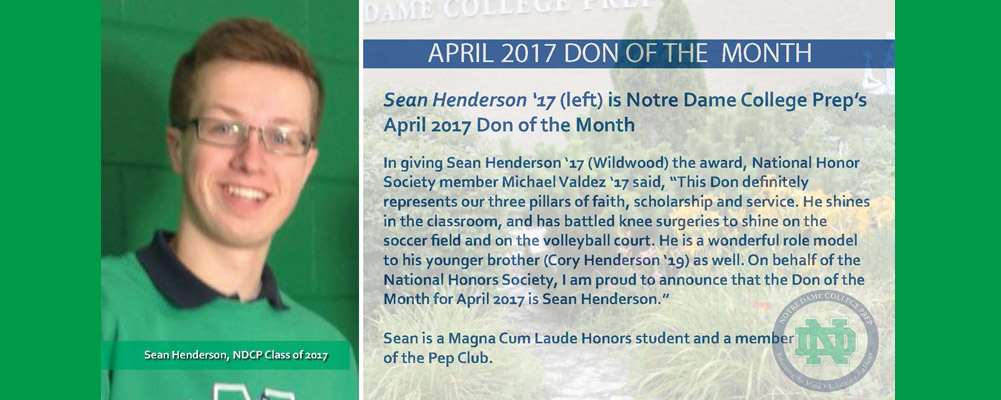 Sean Henderson '17 is the April 2017 Don of the Month