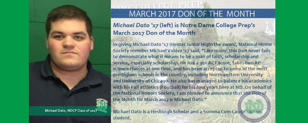 Michael Dato '17 is the March 2017 Don of the Month