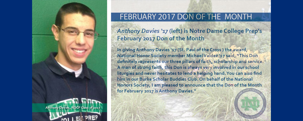 Anthony Davies '17 is the February 2017 Don of the Month
