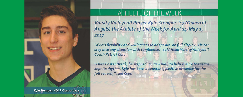 Kyle Stemper '17 is the Athlete of the Week (April 24-