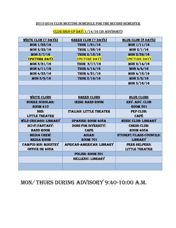 DonsLink - Blue Clubs Mtg (9:40 - 10:00 am during Advisory)